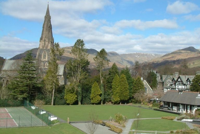 View of Ambleside overlooked from Brathay Lodge guesthouse in the Lake district.