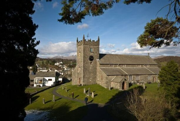 A view of the church in Hawkshead, The Lake District